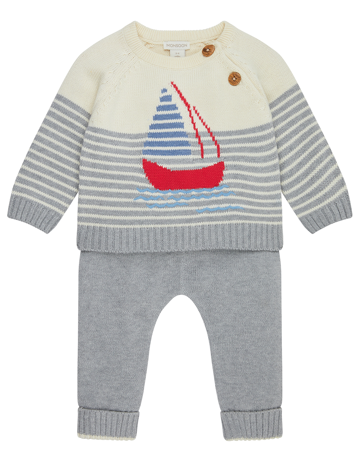 Monsoon Newborn Baby George Knitted Boat Set