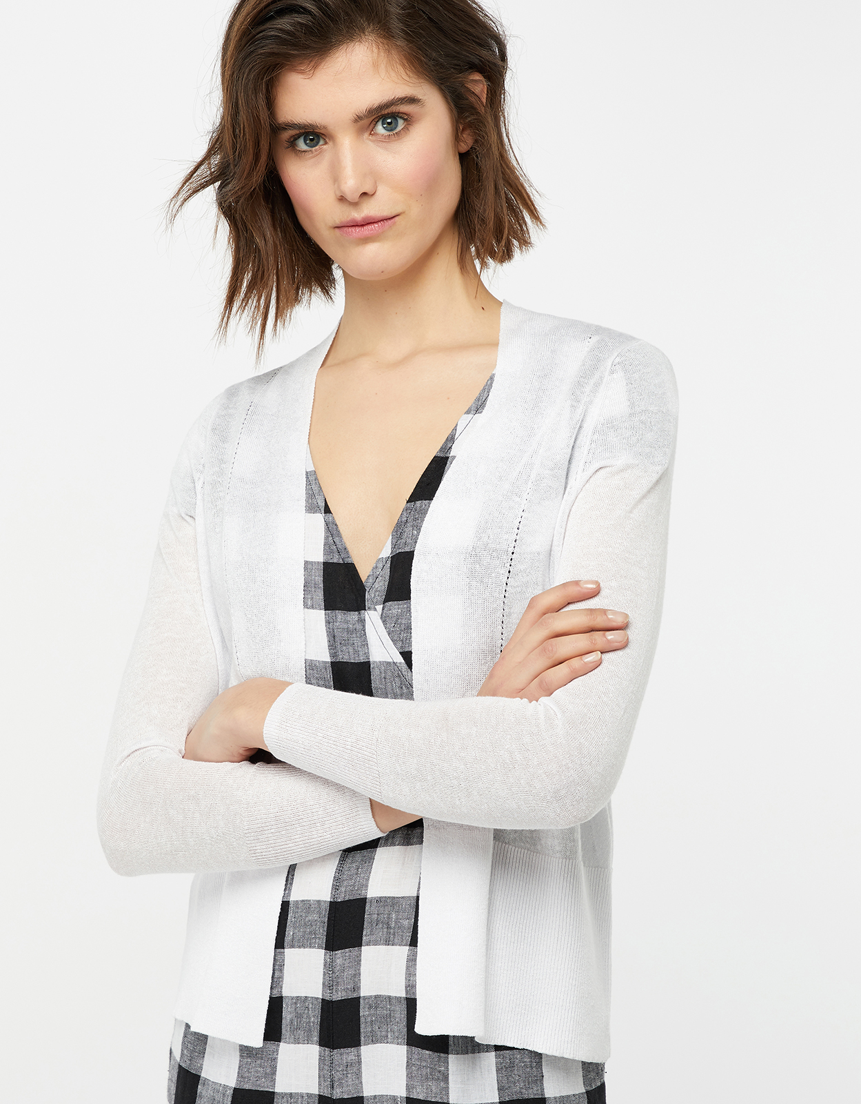 Monsoon Evie Edge To Edge Linen Blend Cardigan