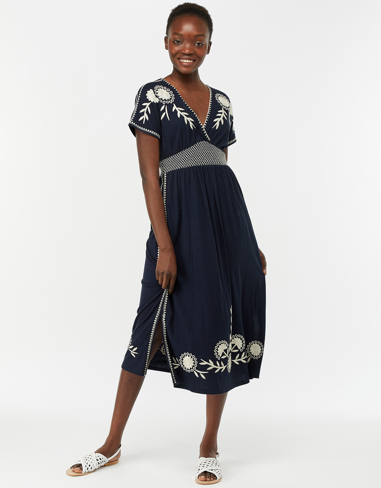 Monsoon Ester Floral Embroidered Midi Dress