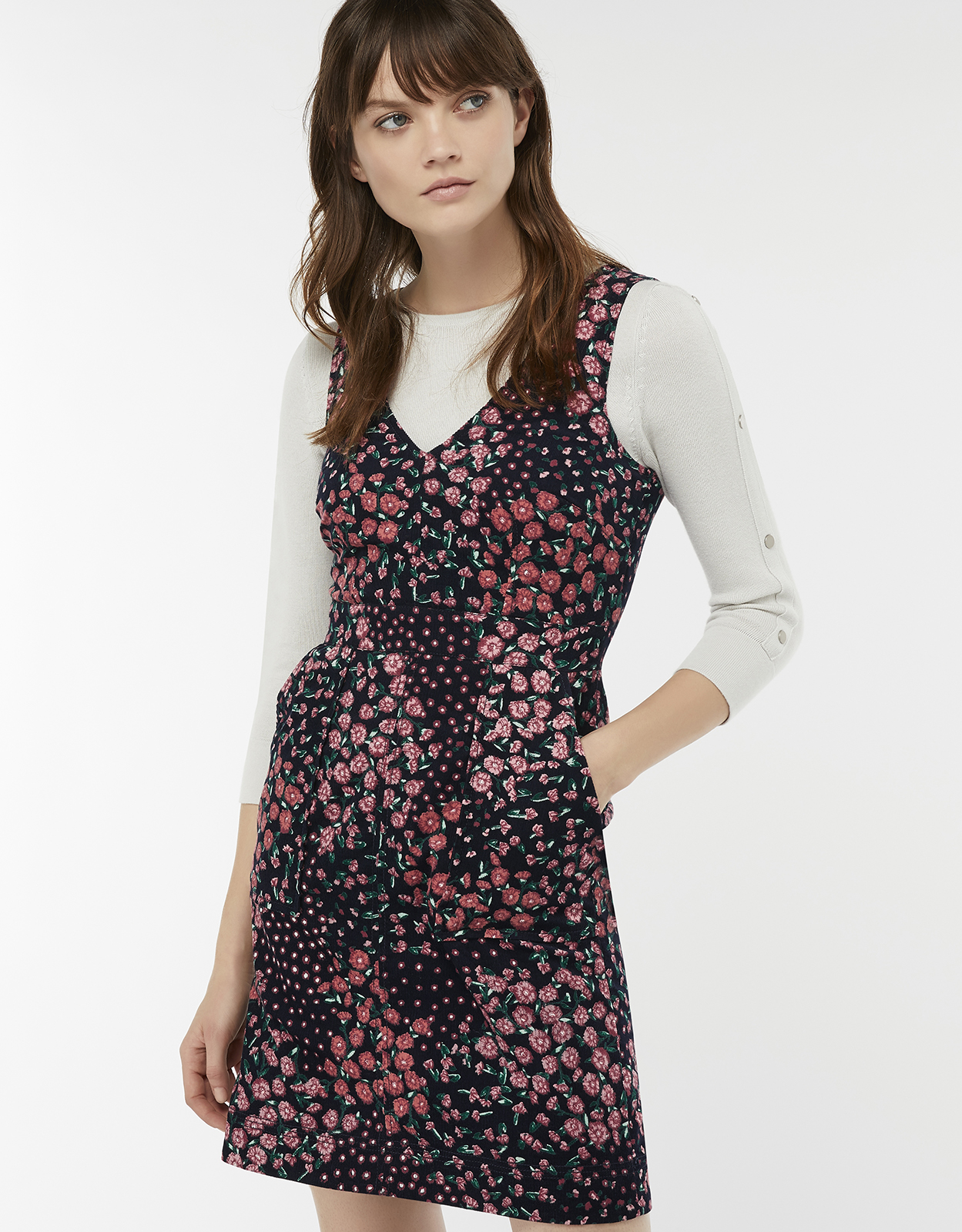 Monsoon Patrice Floral Cotton Cord Dress