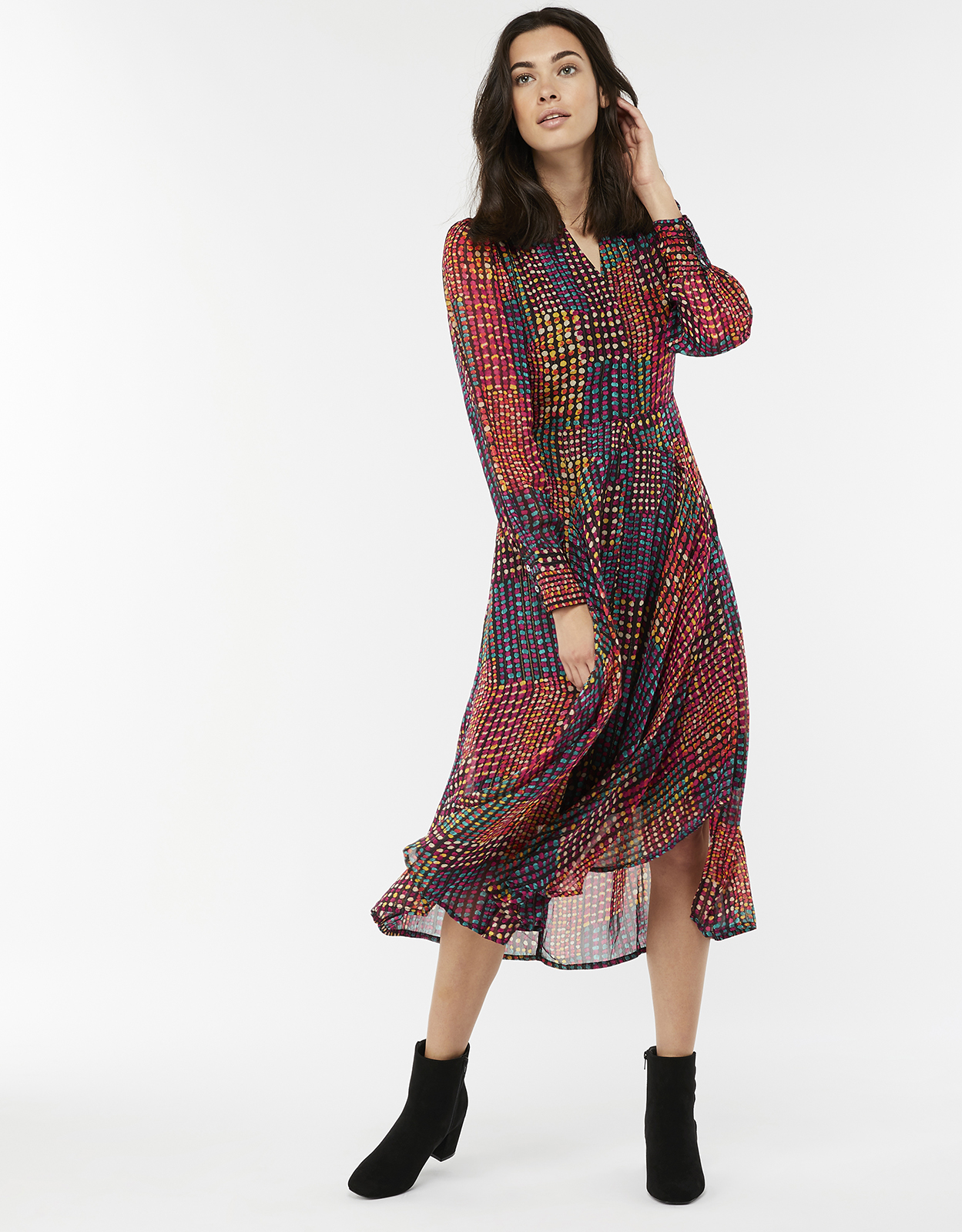 Monsoon Selena Spot Print Midi Dress