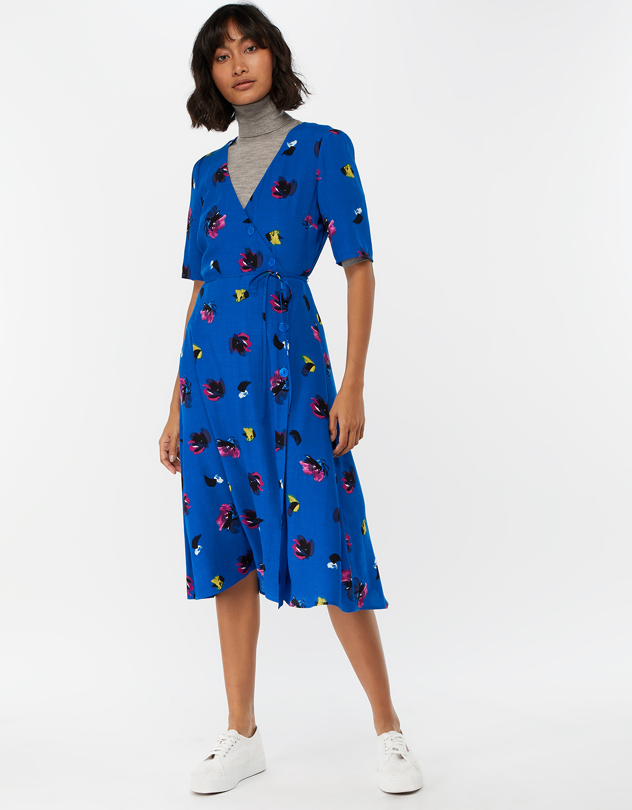 Monsoon Bobby Brush Stroke Print Wrap Midi Dress