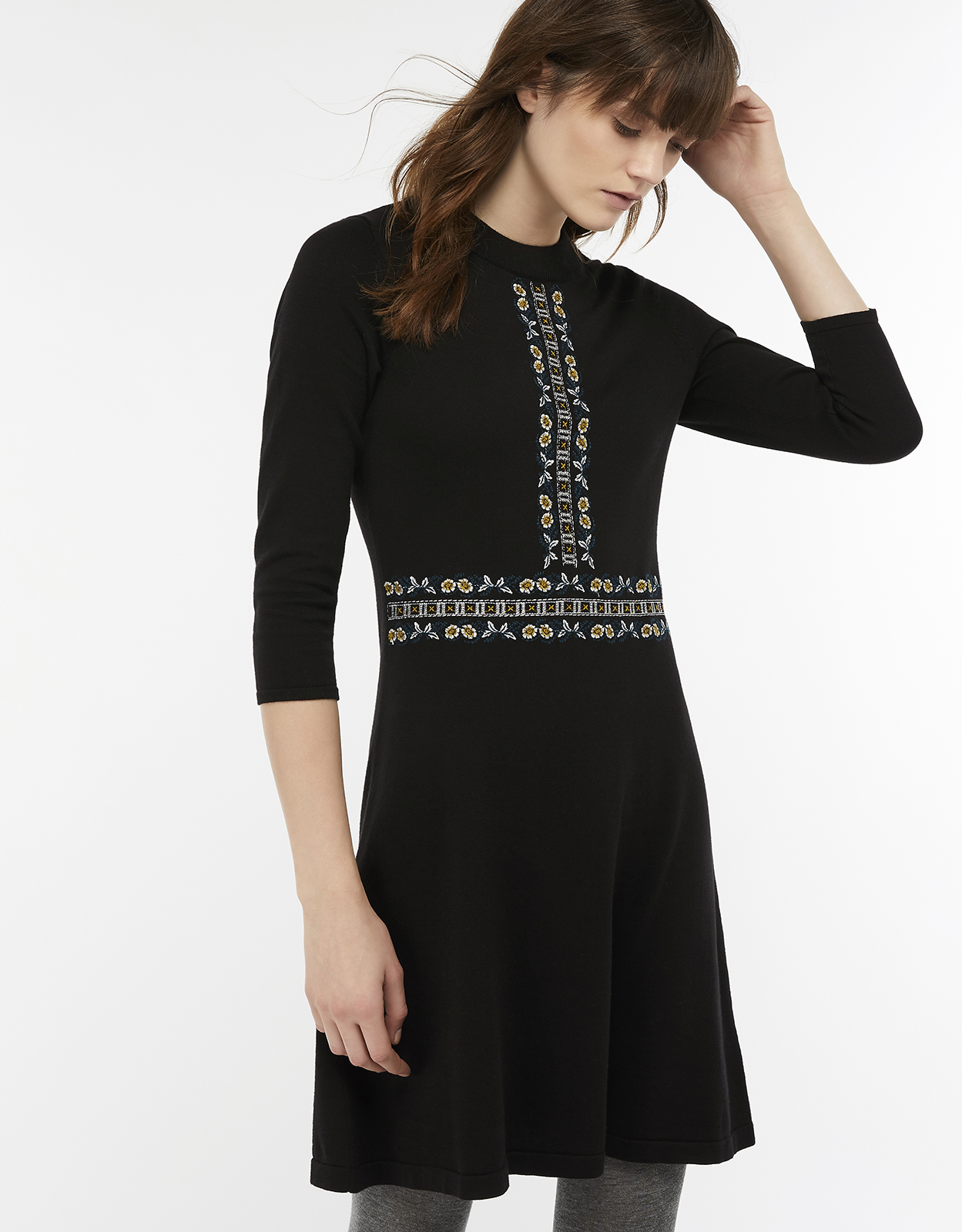 Monsoon Everly Embroidered Knit Dress