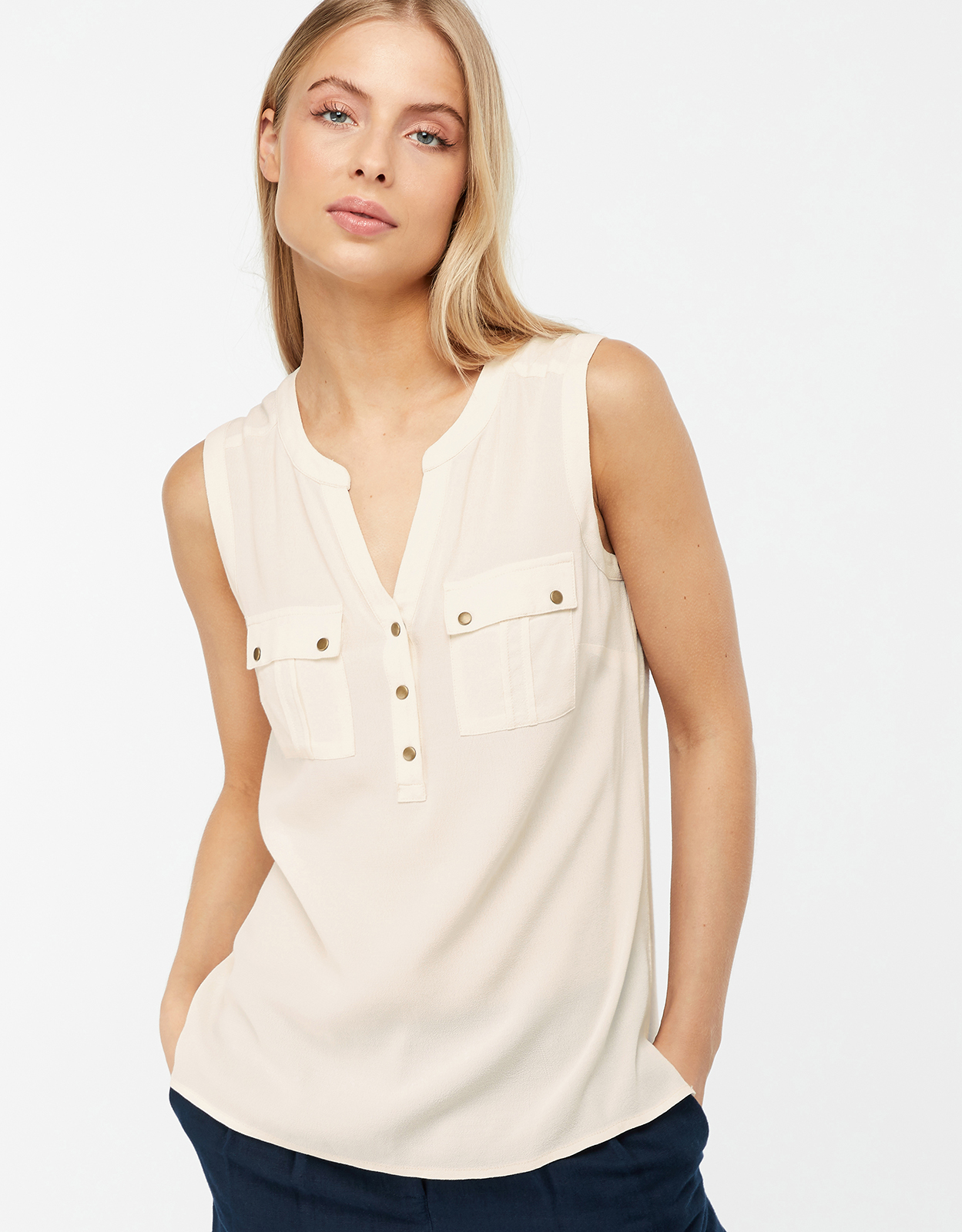 Monsoon Winslet Woven Front Sleeveless Top