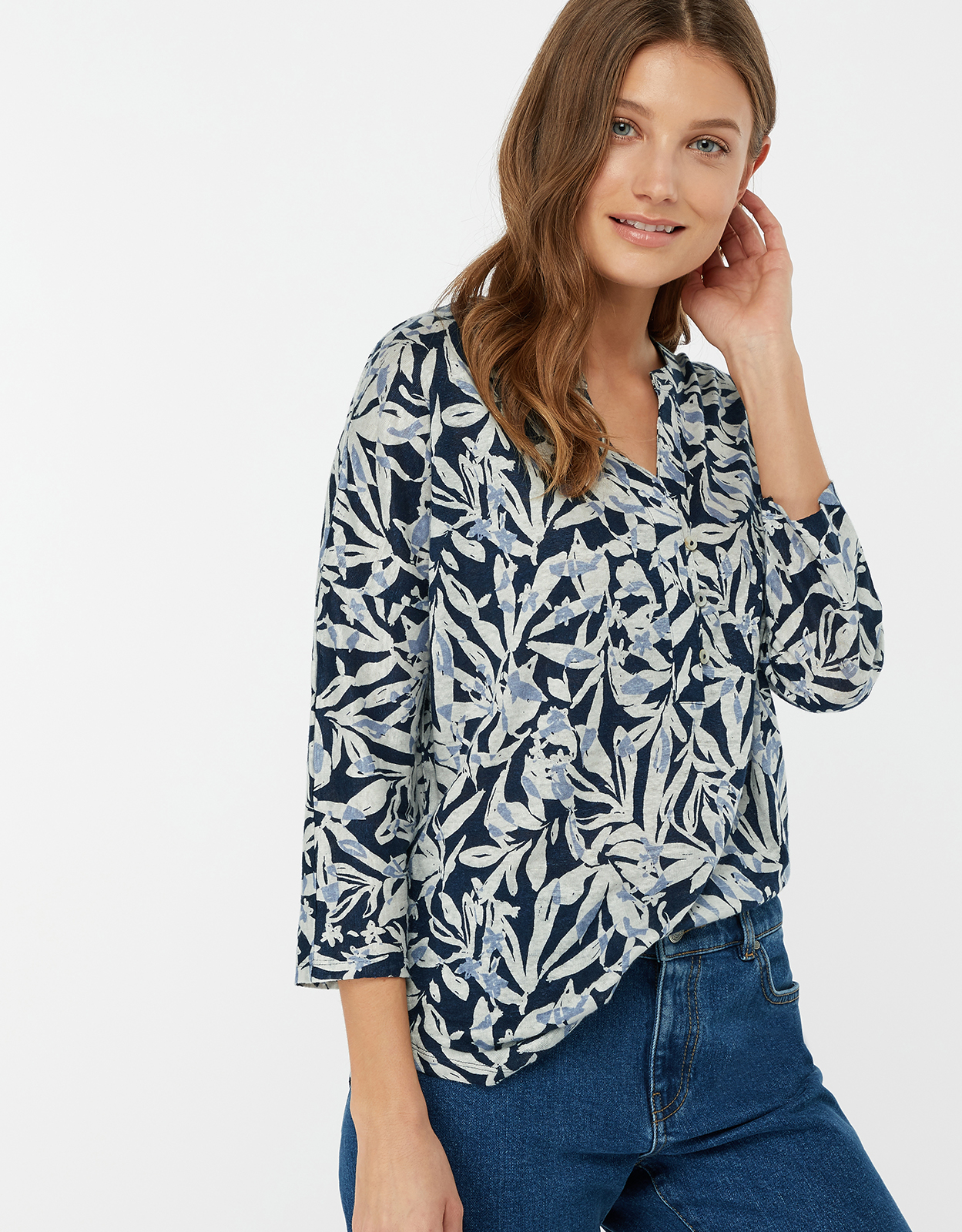 Monsoon Tessa Print Linen Shirt