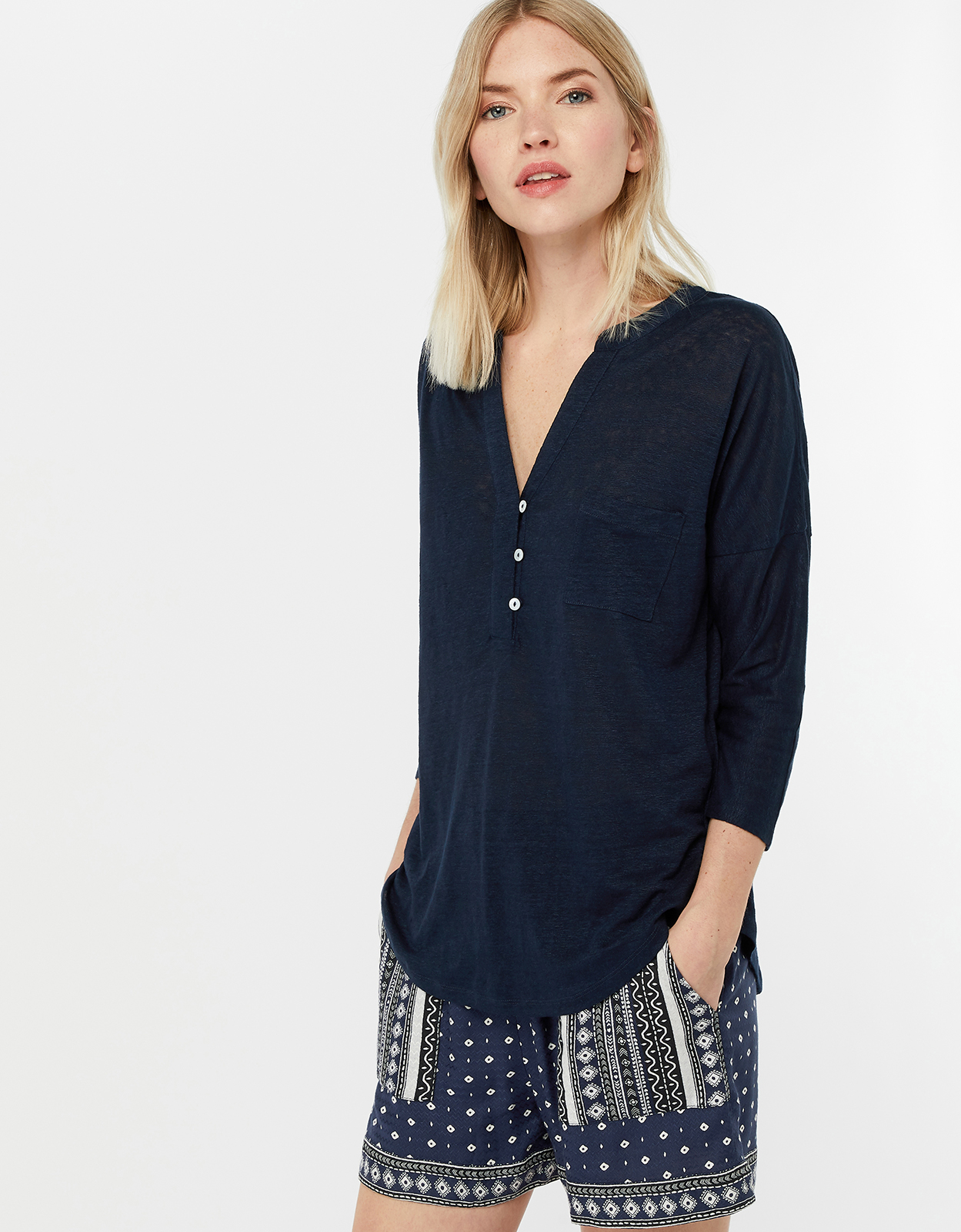 Monsoon Thea Plain Linen Shirt