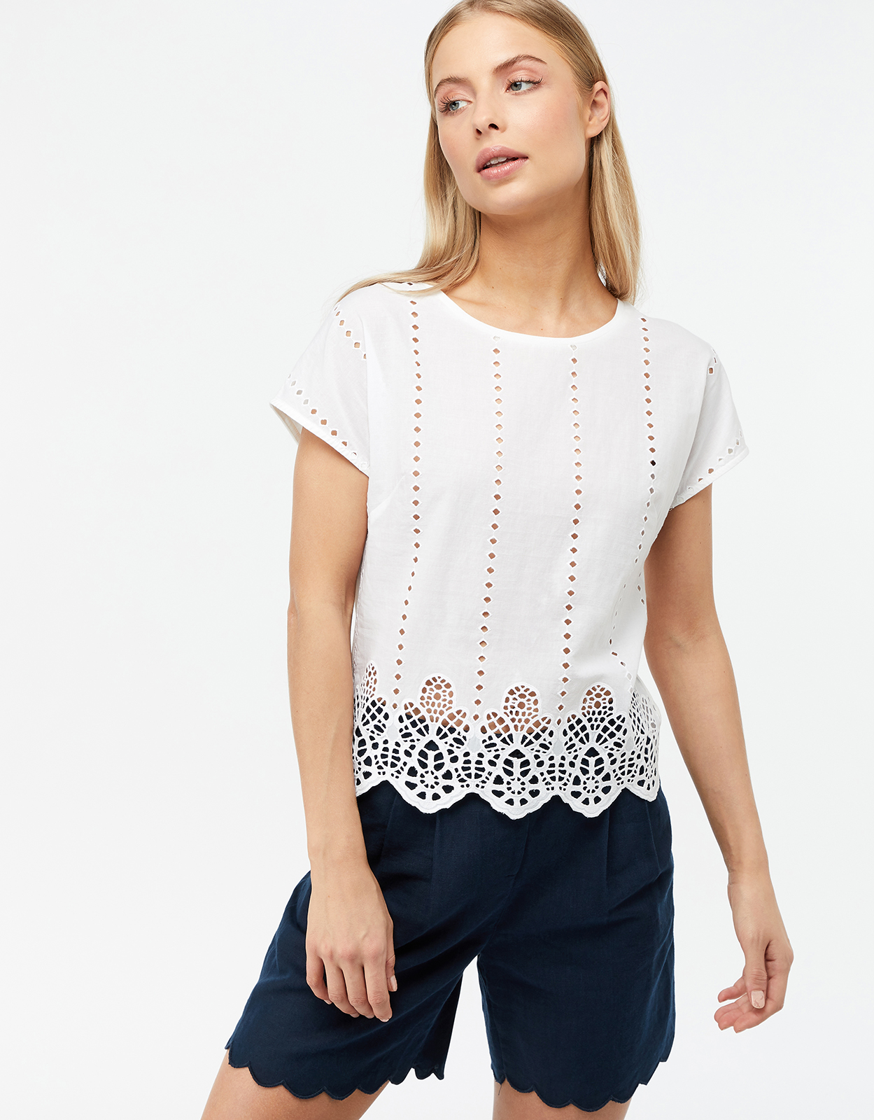 Monsoon Freya Broderie Cotton T-Shirt