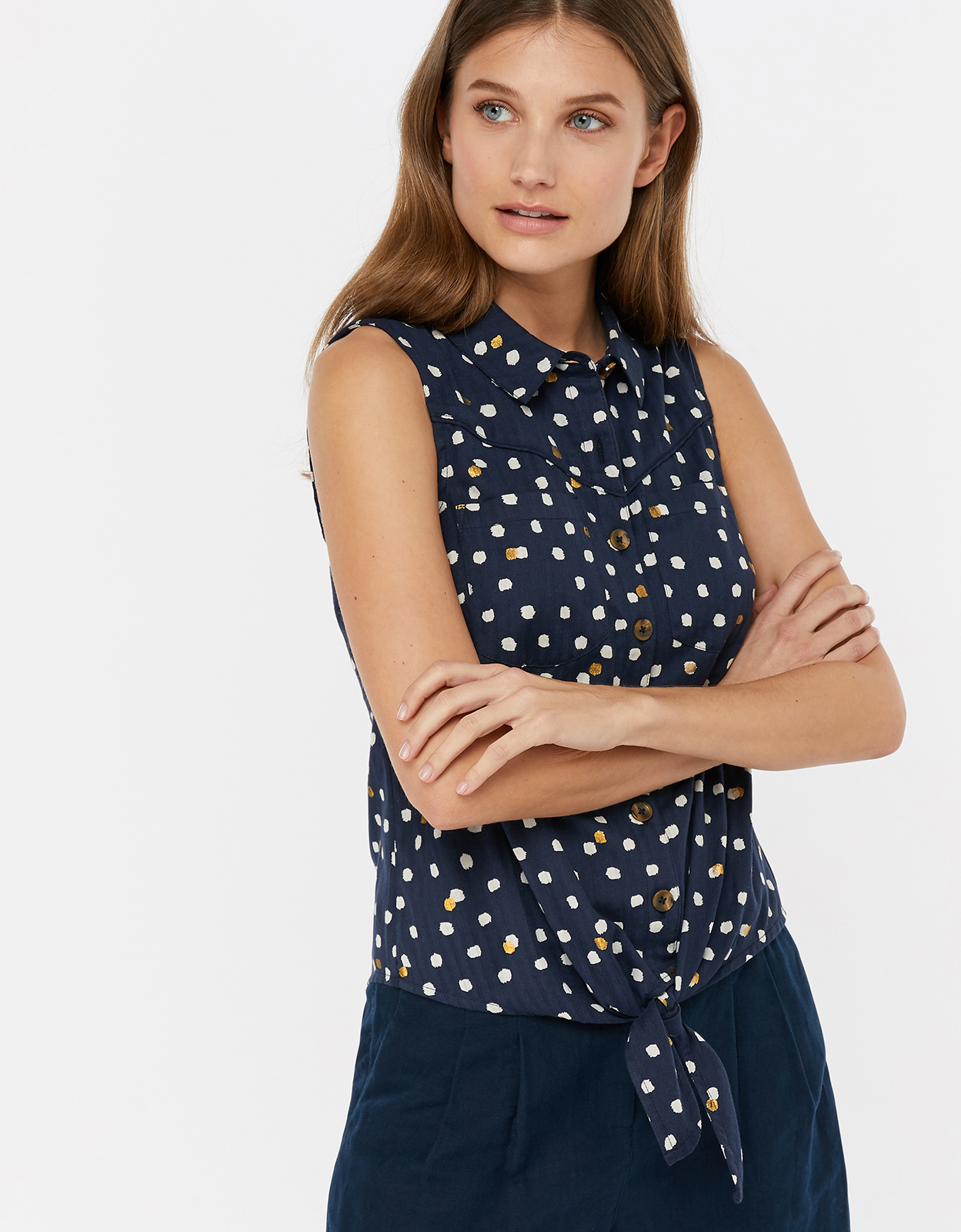 Monsoon Liza Foil Spot Print Cotton Tie Top